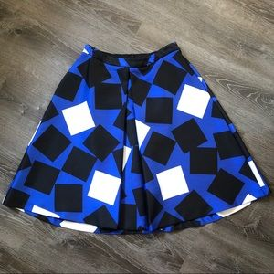 Black and Blue Geometric Full Skirt with POCKETS!!